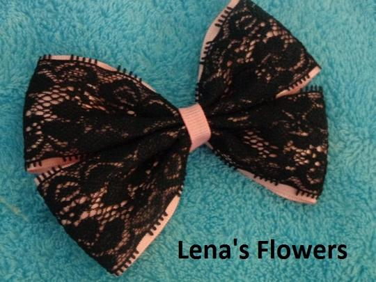 Other handmade pink bow with black lace on alligator clip