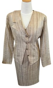 Other Raw Silk Four Piece Suit Jacket, Blouse Skirt Slacks Lined
