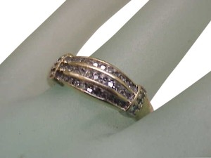 Estate Vintage 10K Yellow Gold .25cttw Diamond Wedding Ring Band, 1950's