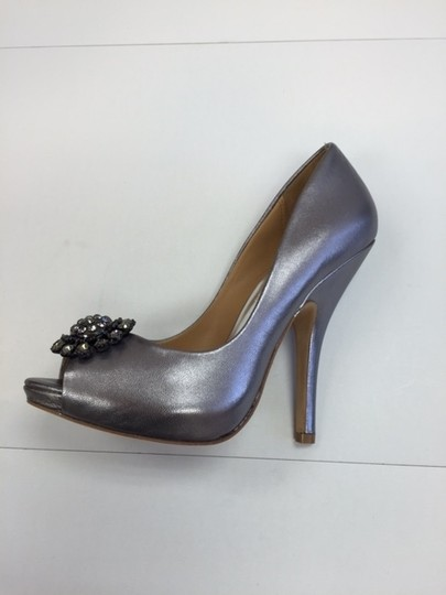 Badgley Mischka Peep Top Formal Evening Go Out pewter Pumps