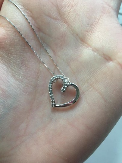 Other 10k Half Diamond Heart Necklace on 14 kt white gold chain