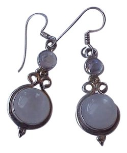 Other Estate Very Cute Sterling Silver High Quality Genuine Moonstone Eearrings, 1950's