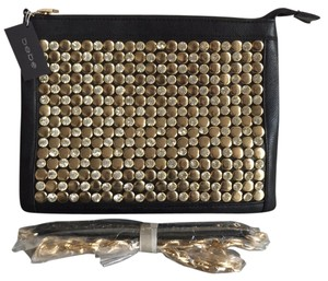 bebe Studded Night Out Black/gold Studs Crystals Clutch