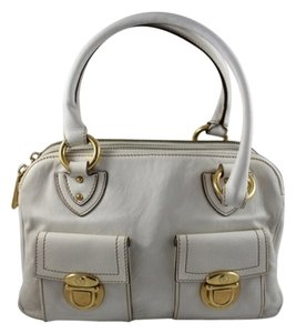 Marc Jacobs Leather Designer Gold Hardware Penny Lane Off White Cream Satchel in Beige