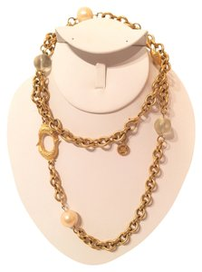 Givenchy Givenchy Gold Tone Chain Link Pearl Fish Charm Necklace