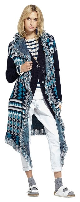 Item - Turquoise/Charcoal Marrakesh Cardigan/Resort 16 / Poncho/Cape Size 4 (S)