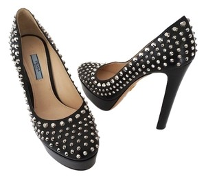 Prada Heels Studded Stilettos Studded Size 10 Black Platforms
