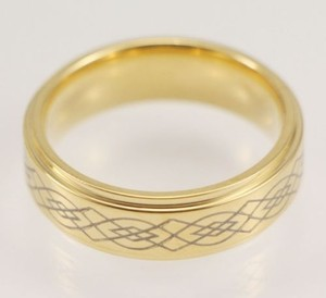 Engraved Ladies Gold Stainless Steel Wedding Ring Free Shipping