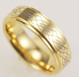 Men's Stainless Steel Gold Engraved Wedding Band Free Shipping