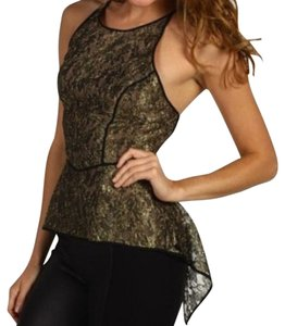 BCBGMAXAZRIA Lace Top Black Gold