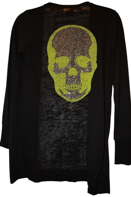Preload https://img-static.tradesy.com/item/14869687/evil-black-womens-cotton-with-beaded-neon-scull-cardigan-size-2-xs-0-1-650-650.jpg