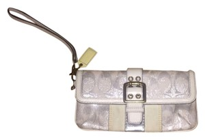 Coach Signature Canvas Leather Wristlet in White, Silver