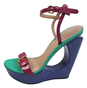 Stuart Weitzman Patent Leather Gold Hardware Blue, Green, Pink Sandals