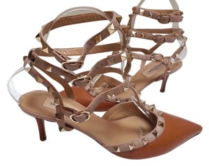 Valentino Leather Caged Heel Sandals Goldtone Pyramid Tan/Mauve Pumps