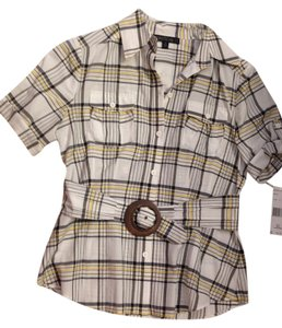 Lafayette 148 New York Belted Designer Plaid Top multi