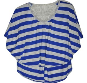 Rue 21 Knit Stripe Crop Top Blue and White