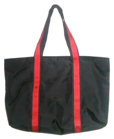 Preload https://item2.tradesy.com/images/dkny-black-red-polyester-tote-1487076-0-0.jpg?width=440&height=440