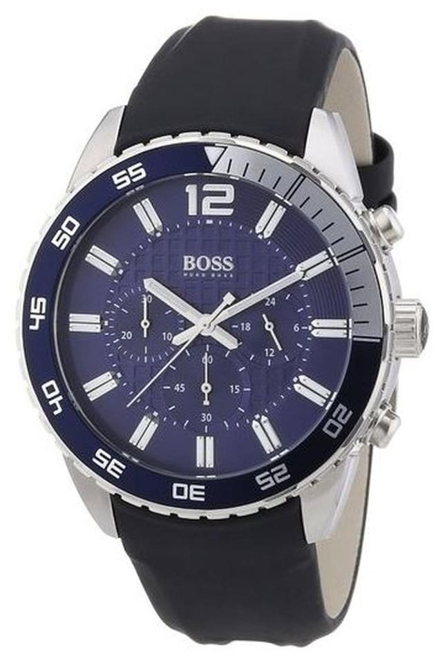 cfe0f724f Hugo Boss Black with Blue Dial Chronograph Strap Watch - Tradesy