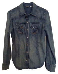 Eddie Bauer Western Worn Look Snaps Fitted Top Medium Blue Denim