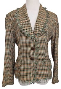 Peter Nygard Houndstooth Frayed Size 6 Multi Color Blazer