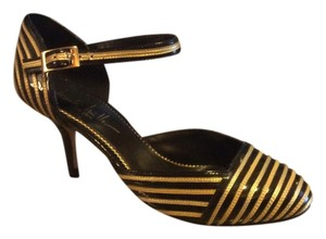 Nicole Miller Vintage Patent Leather Black, gold Pumps