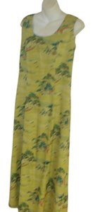 GREEN Maxi Dress by Citron Maxi Silk Asian Sheath Sleeveless