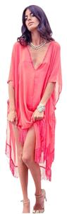 Other New White & Coral Chiffon V-Neck Kaftan Coverup Tassle One Size