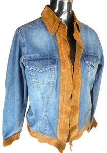 Brandon Thomas Western Leather trim denim Womens Jean Jacket