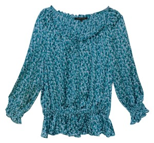 Cynthia Steffe Lightweight Summer Top Teal and Turquoise Print