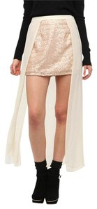 Urban Outfitters Sparkle Fade Sequins Chiffon Mini Skirt Rose Gold & Cream