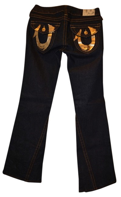 Item - Dark Denim with Gold Detail Rinse Wash On The Pockets Boot Cut Jeans Size 28 (4, S)