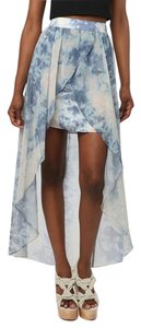 Urban Outfitters Mermaid Kimchi Overlay Mini Skirt Blue and White Tie-Dye Motif