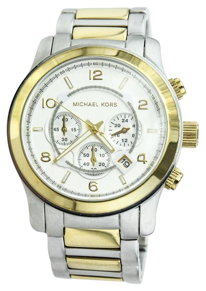 83e6c8422a Michael Kors Silver and Gold Runway Oversized Chronograph Watch ...