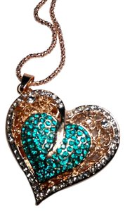 Betsey Johnson Betsey Johnson Gold & Blue Heart Necklace N404