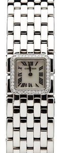 Cartier 18 karat white gold Cartier Panthere Ruban diamond bezel mother-of-pearl dial. Ref #2422 Serial #848948