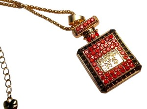 Betsey Johnson Betsey Johnson Perfume Bottle Necklace Gold Red N409