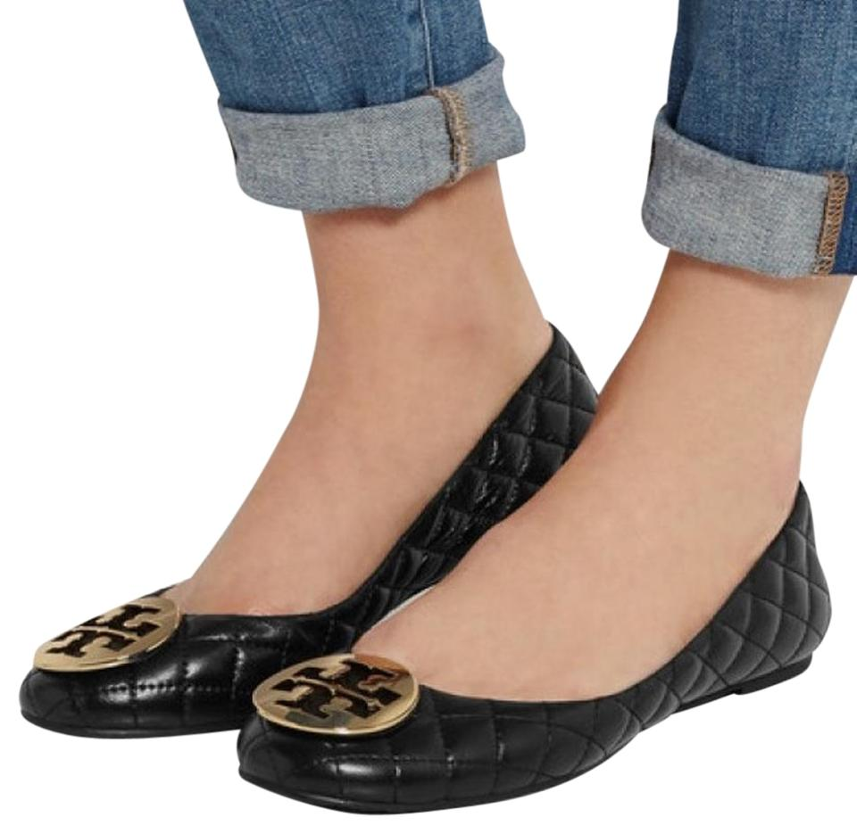 9de26e64b5fd Tory Burch Black Quinn Quilted Ballet Flats Size US 8.5 Regular (M ...