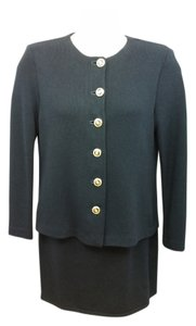 St. John ST. JOHN BASICS BLACK KNIT SKIRT SUIT 8 L