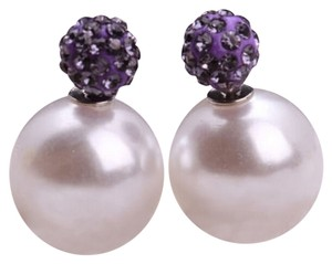 New Pearl Crystal Double Sided Stud Earrings Round J2440
