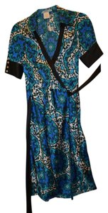 Marciano Damask Silk Wrap Dress Top Blue teal black white