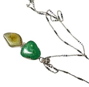 New Druzey Agate Gemstone Pendant Necklace 925 Silver W/ Chain 20 in. Yellow Green J468