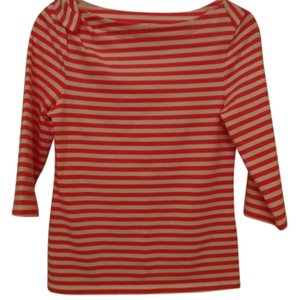 Kate Spade Embellished Top White and Coral Stripped
