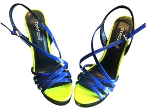 ShoeDazzle Blue and Yellow Platforms