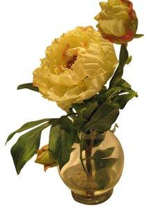 Other Fine Silk Ivory Peony Arrangement; Glass Globe Vase with Illusion Water - [ Roxanne Anjou Closet ]