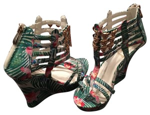 Athena Alexander Floral Pink, Green, and White Wedges