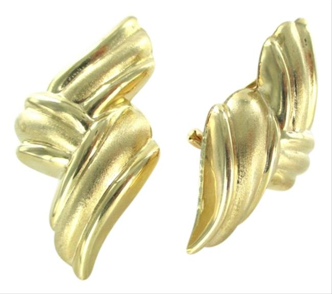 Gold 14kt Yellow Satin Finish French Backs 6.5 Grams Fine Jewel Hollow Earrings Gold 14kt Yellow Satin Finish French Backs 6.5 Grams Fine Jewel Hollow Earrings Image 1