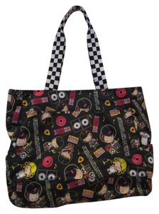 Harajuku Lovers Gwen Stefani Patterened Fun Cute Statement Tote in Black