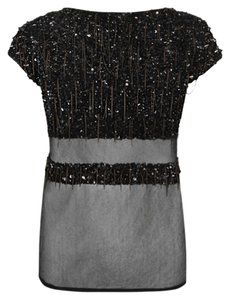 AllSaints Studded Embroidered T Shirt black with gunmetal chain and studs