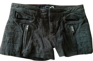 AllSaints Leather Biker Detail Soft Luxury Mini/Short Shorts GREY/TAUPE
