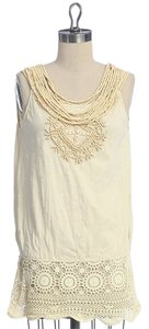 Anthropologie Wood Collar Embroidered Top IVORY